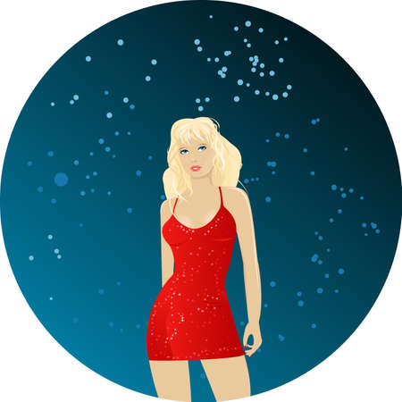 Dancing blond girl in red sparkling dress on round dark background Stock Vector - 4484012