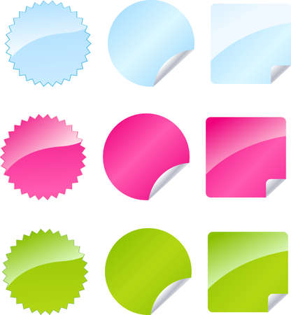 Set of multicolored badges in three color