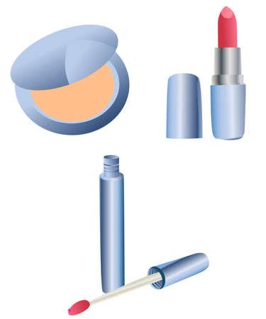 lipgloss: Blue decorative cosmetic set - powder, lipstick, lipgloss Illustration