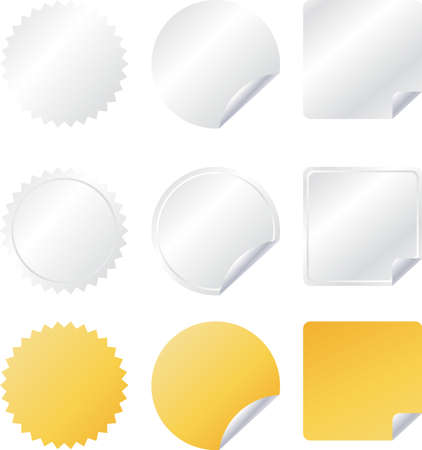 stickers: Vector badges set in gray, white and yellow color like stickers
