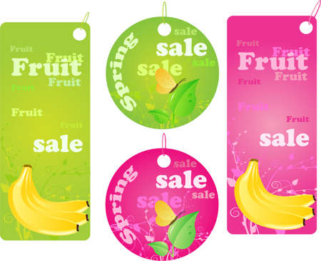 buttefly: Four shopping labels with fruit and spring design.