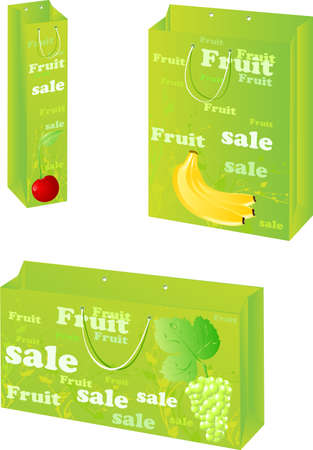 packets: Green three paper packets with fruit sale design