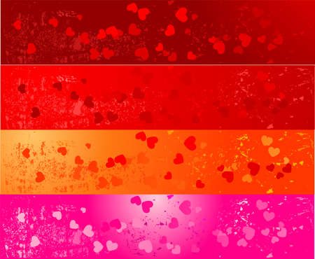 Set of four colorful grunge banners with hearts design Vector
