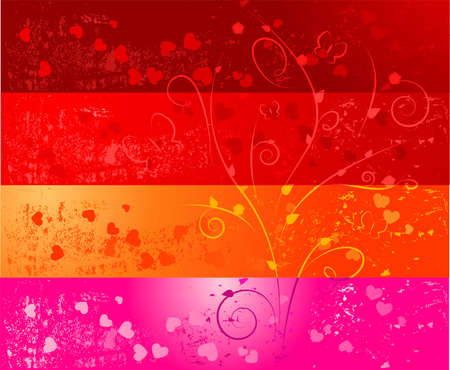 Four colorful grunge banners with hearts and floral ornaments Vector