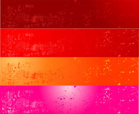 Grunge banners in red, pink and orange colors Vector