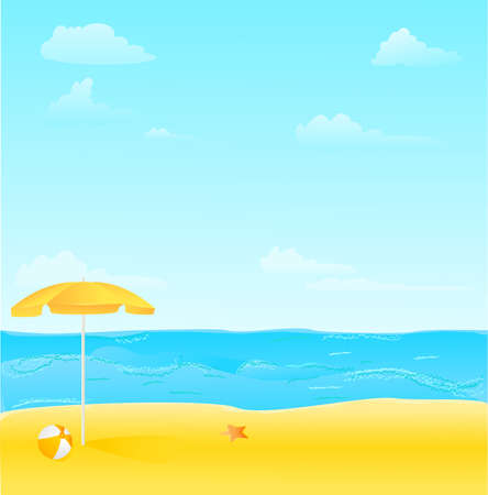 Beach with umbrella,ball and starfish vector illustration