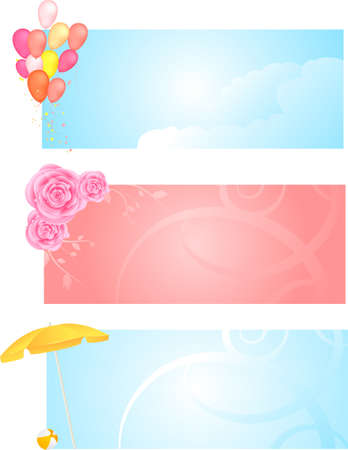 Banners with roses and floral, balloons and clouds, beach umbrella and ball