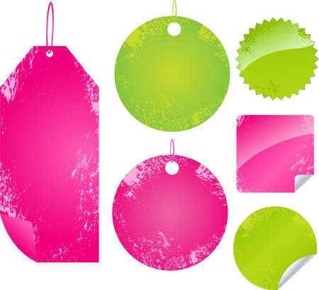 Grunge labels and stickers set in pink and green color Vector