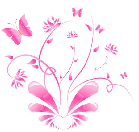 corazon con alas: Coraz�n con alas brillantes y con adornos florales Vectores