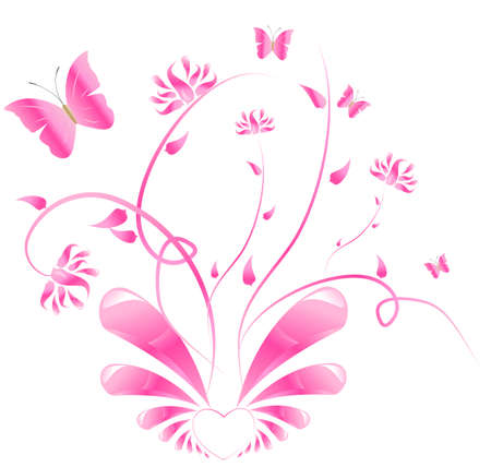animal vector: Heart with glossy wings and with floral ornament