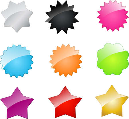 Set of multicolored web badges and stars Vector
