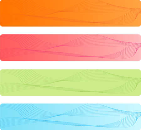 businees: Colorful rounded corner banners with abstract design in four pretty color