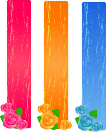 Three colorful grunge banners with roses Vector
