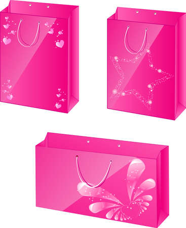 packets: Three pink paper packets with glamour design for girls Illustration