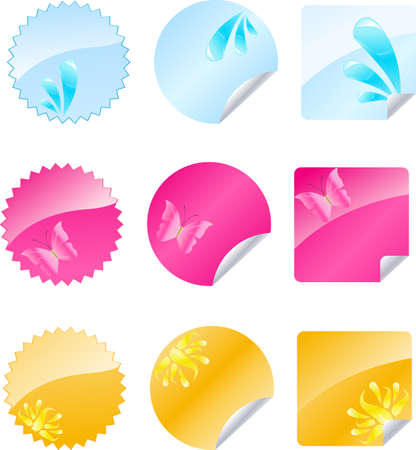 Set of multicolored badges with glossy design Vector