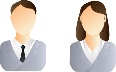 female clothing: Two user icons - business man and woman Illustration