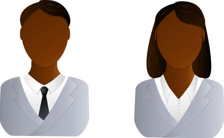 Two vector users icon - african man and woman