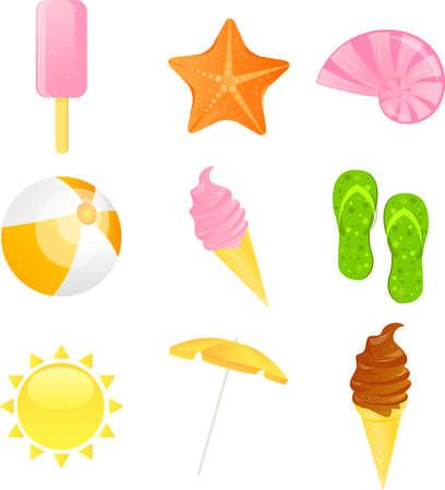 Set of vector colorful summer icon. Ice creams, starfish, shell, ball, flip-flop,sun and beach umbrella