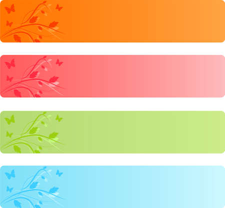 businees: Banners with leaves floral design and butterflies in four color