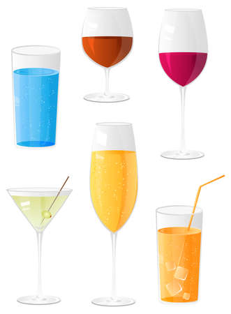 Glasses for drinks icon collection. Include fizzy water glassful, brandy, red wine, martini, champagne and juice with ice cube glasses Vector