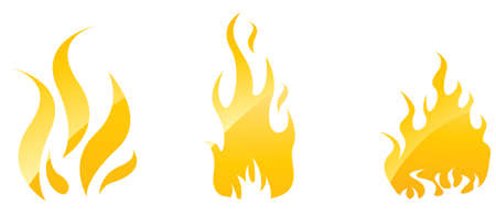 Set of fire glossy icons for your designs Stock Vector - 5189267