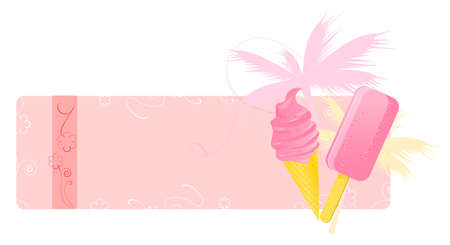 Summer banners with ice-creams, palm and floral ornament Vector