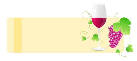 Banner with wine glass and grape with decorative elements. For wine card, designs, etc. Vector