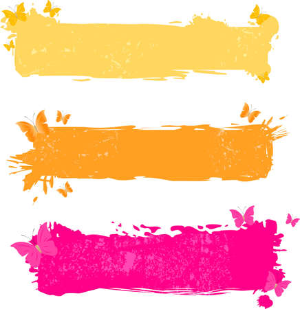 Three grungy bright banners with butterflies Vector