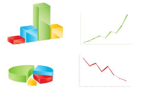 financials: Different multicolor business graphs set Illustration