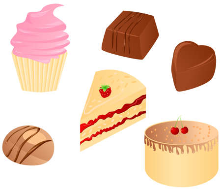 small group of objects: Set o tasty sweet food : cupcake, different chocolate candy, cake with cherry and piece of cake with raspberry. Vector illustration.