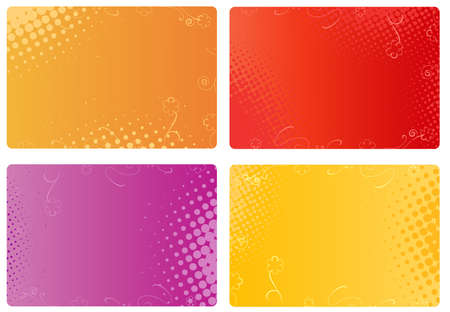 Multicolored templates for business cards, banners with floral and halftone design Illusztráció