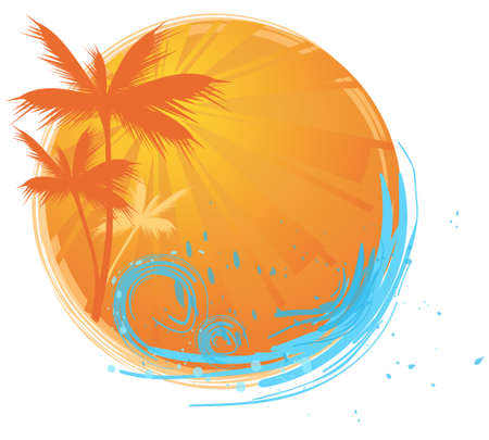 Round banner with palms and ocean's wave and water splash Stock Vector - 5213058