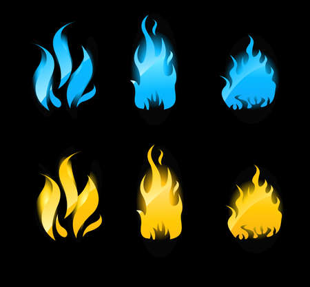 Set of blue and orange flames with glowing. Gas flames and fire flames. Vector