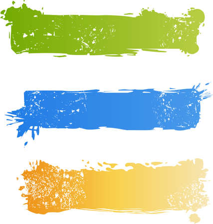 scroll banner: Three grungy multicolored banner set Illustration