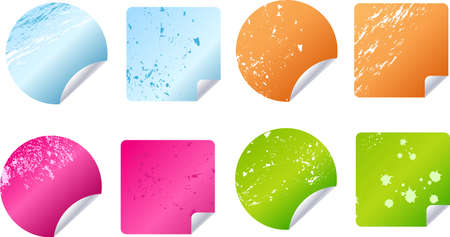 Multicolored grungy stickers and labels set fot your designs Vector