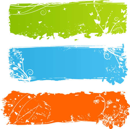 Three grungy multicolored banners with floral elements Vector
