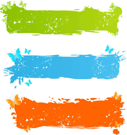 Three grungy bright banners with butterflies Stock Vector - 5260090