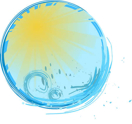 Round blue banner with sunshine and water splash Stock Vector - 5298102