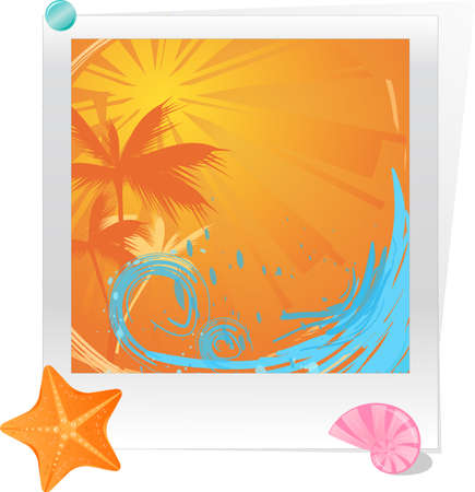 Photo with summer sunset decorated starfish and seashell Vector