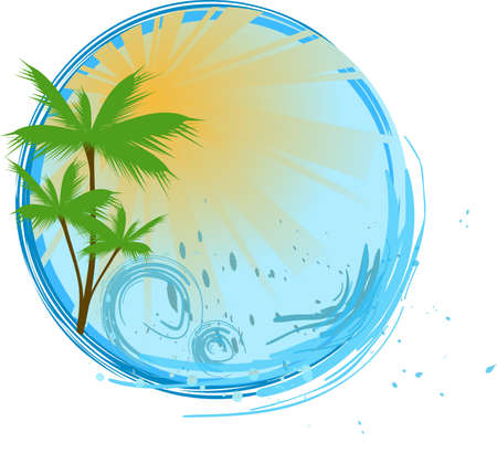 Round banner with palms, sunshine and ocean wave Illustration