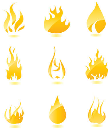 Big set of glossy vector fire icons for your design. Vector