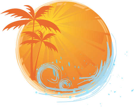 Round banner with palms and ocean's wave and water splash Stock Vector - 5354082
