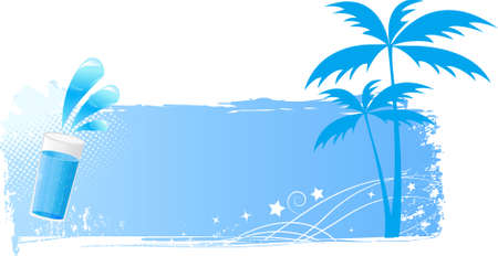 Vector blue grunge background with palms and water glass and glossy water splash. Stock Vector - 5376692