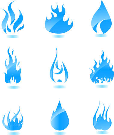 large group of objects: Big set of glossy vector fire icons for your design Illustration