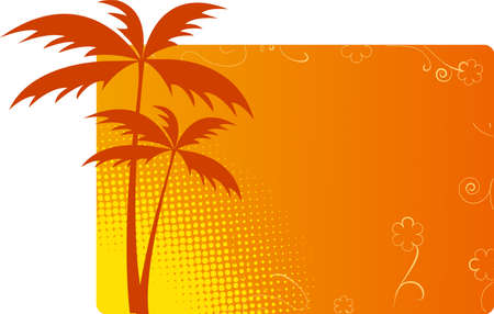 Orange background with palms, floral and halftone ornaments Stock Vector - 5401965
