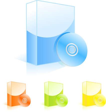 Las cajas de software multicolores con los discos de CD. Ilustración del vector para el diseño uoyr
