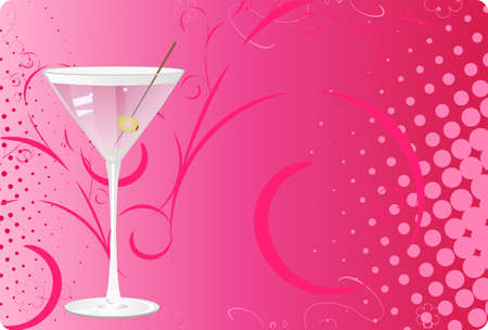 Martini glass on pink halftone background with swirl design