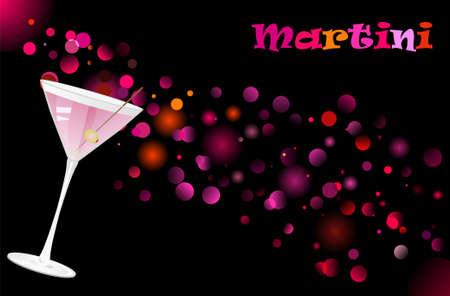 Martini cocktail on defocused illumination background. Night life background Stock Vector - 5421165