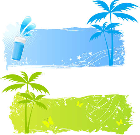 Palm grungy backgrounds in green and blue colors Stock Vector - 5421167
