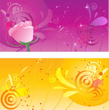 Pretty backgrounds with swirl design and rose Stock Vector - 5421164